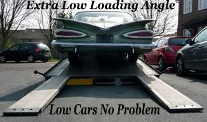 very low cars can be loaded with no problem.