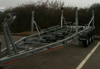 One of our trailers with the high level hull supports fitted